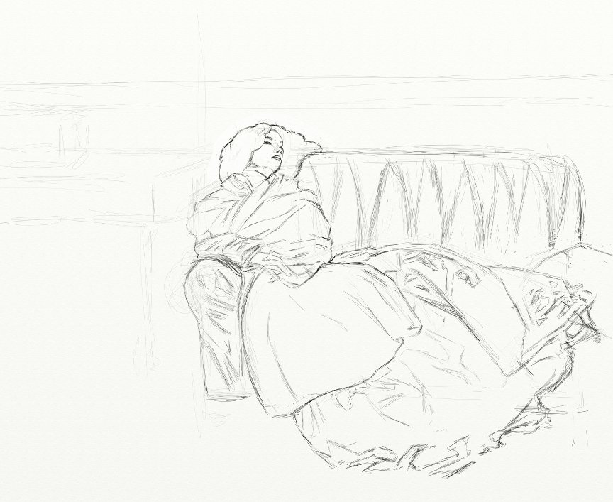 "John Singer Sargent ""The Repose"" Pencil Sketch"
