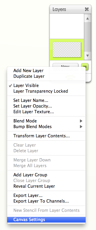 Canvas Settings in Layer Palette