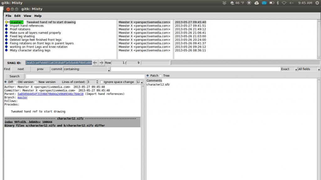 Tracking progress using GIT gui.