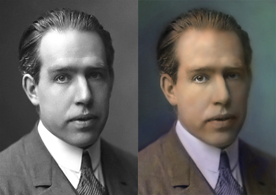 Colorizing photography and smoothing pixels in Photoshop (click for larger image)