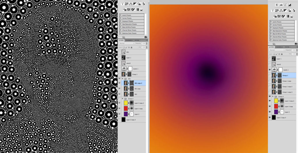 Creating inverted mask (mask visible in image) from circles and placing mask on colorized image (left). Background colors (right) (click for larger image)
