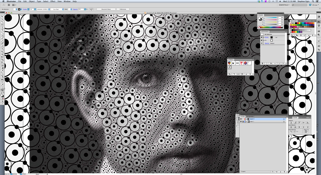 Import the image into Illustrator and place it on its own layer so that it's independent from the circles. (click for larger image)