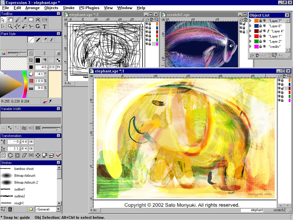 Expression was the first vector-based natural media program. See how it had a similar interface to Painter.