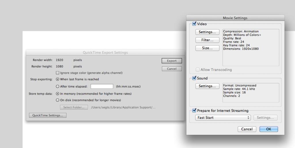 Flash render settings. (Click to enlarge.)