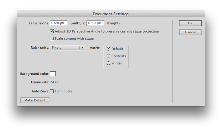 Flash document/canvas settings (click to enlarge)