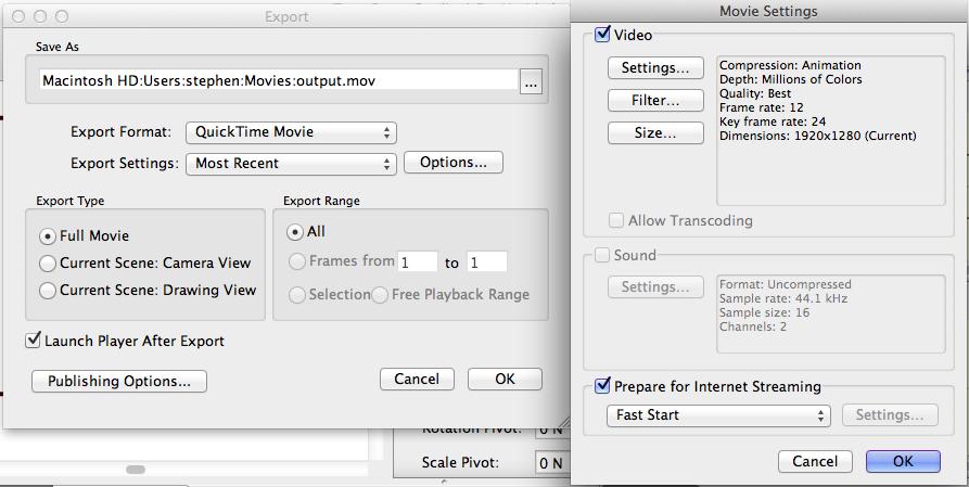 Toon Boom Studio render settings (click to enlarge)