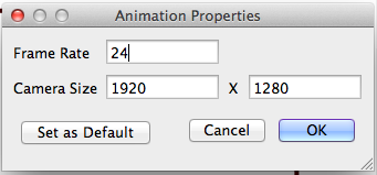 Toon Boom Studio canvas/document settings