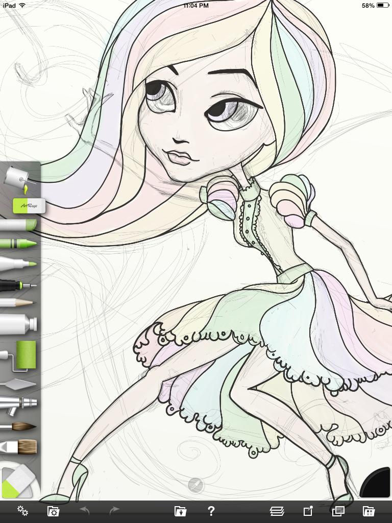 Preliminary sketch created in iPad ArtRage App