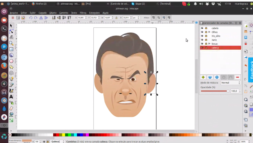 Ricardo showing me how he sets up his character in layers in Inkscape so he can easily transfer it to other programs. (Click on image to enlarge)