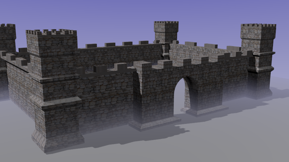 One of my first projects that I did from Neal's online class. It's not the most exciting castle, but I learned the basics of texturing, and how to extrude and form similar shapes through different techniques