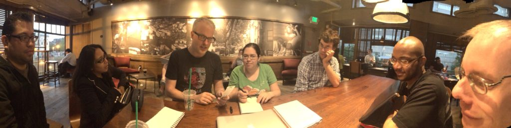 A picture of the group during one of our meetings at Starbucks. Photo by Hannah Benbow