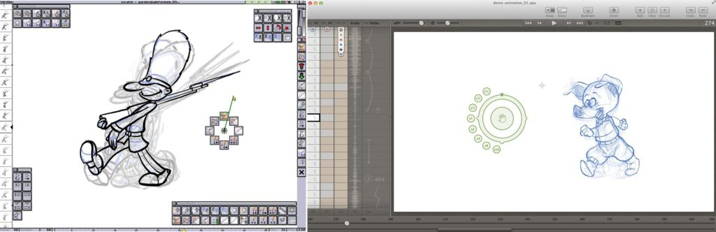 Snapshots of the old (left) and new (right) designs. Click image to enlarge. Courtesy of Animation Paper