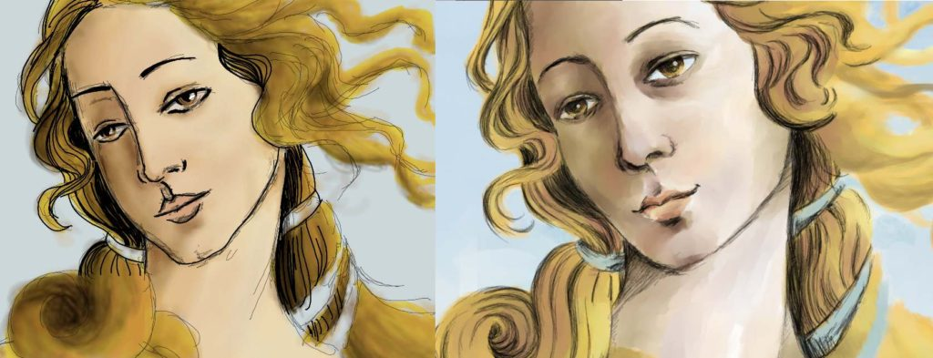 If you tried Krita, try it again. The first time I used Krita (left), I wasn't impressed. I decided to give it another shot (right) and I really liked the results. The brushes are wonderful. It just takes patience and tinkering. (Click to enlarge)