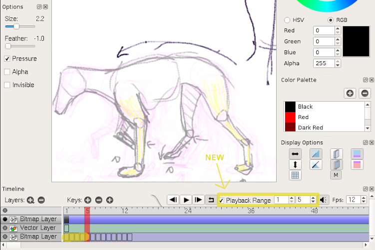 Pencil2D shows off their new playback-range function. Click to enlarge image. Courtesy of Pencil2D