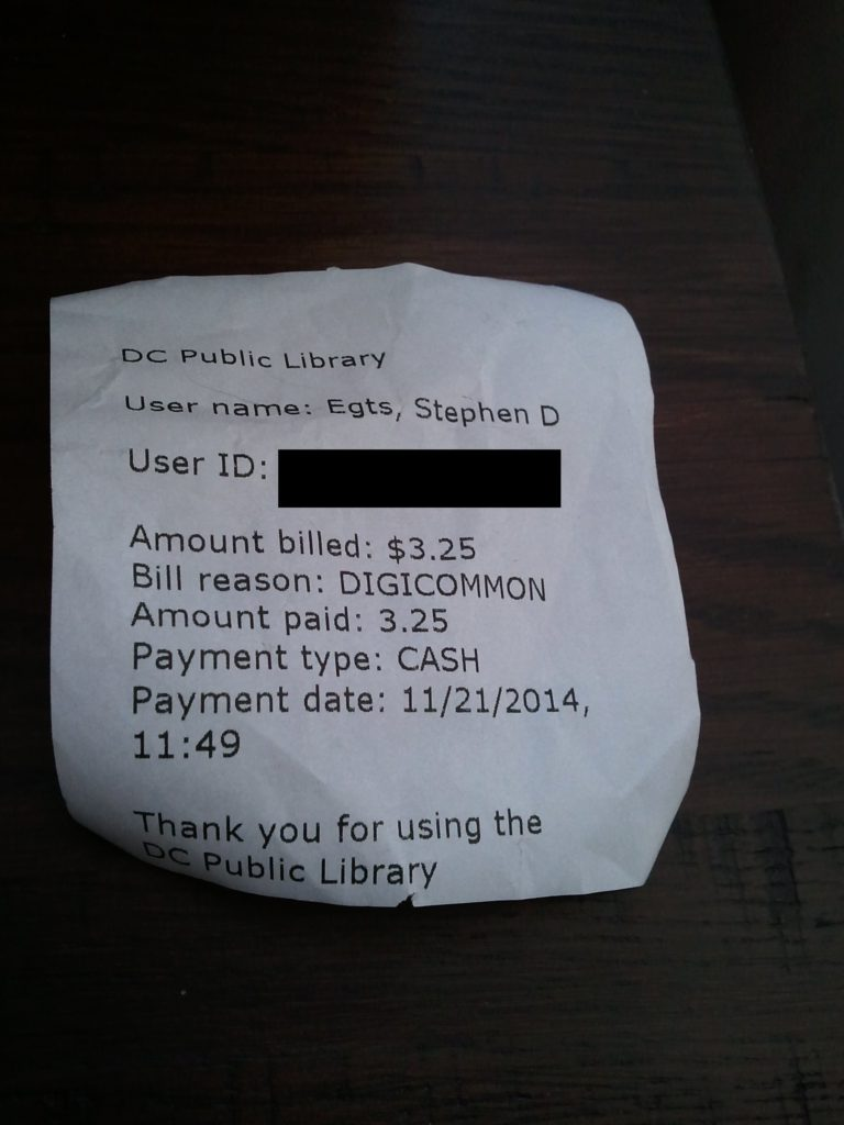 Receipt from the library for the 3D print