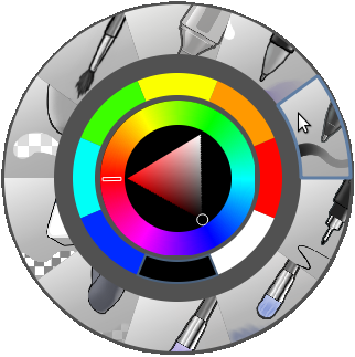 Krita's right-click palette (courtesy of Tyson Tan/Wikimedia Commons CC BY-SA 3.0)