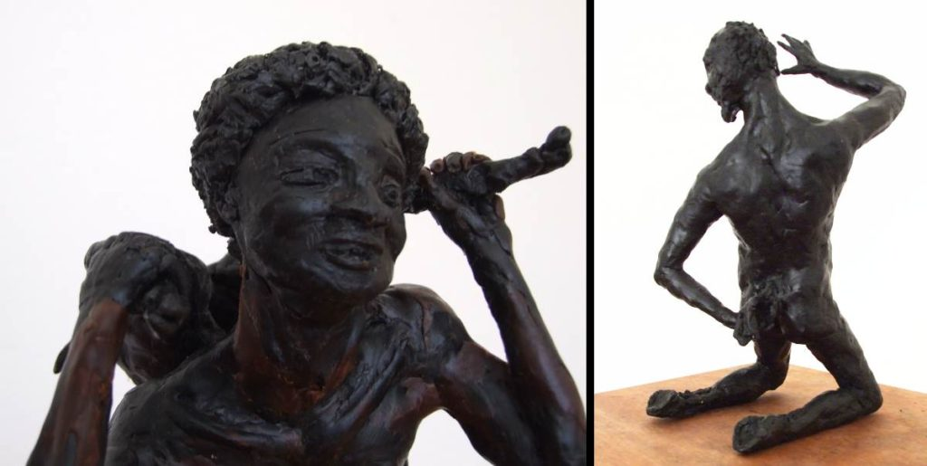 """Sculptures from left: """"Mighty Hunter"""" and """"Middle Aged Faun"""" byBoudewijn Rempt"""