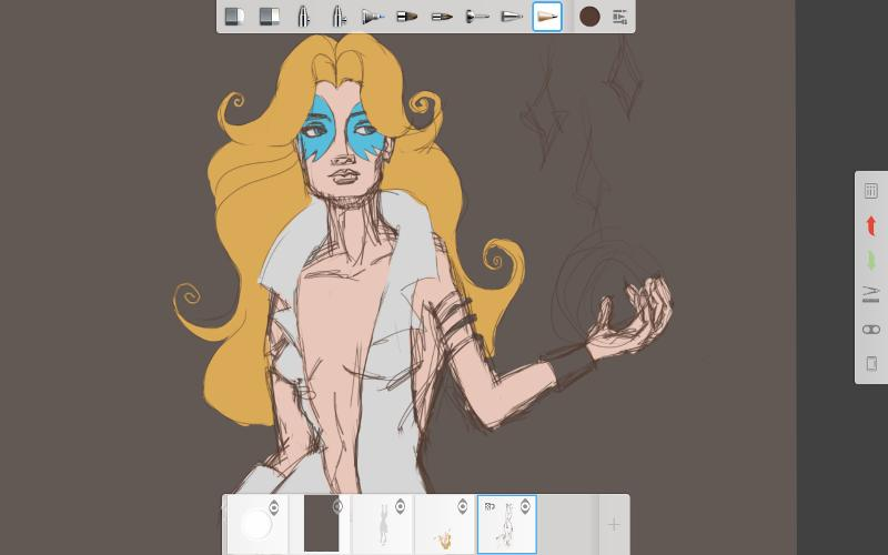 My initial sketch of Dazzler. Sketchbook was very comfortable for drawing.