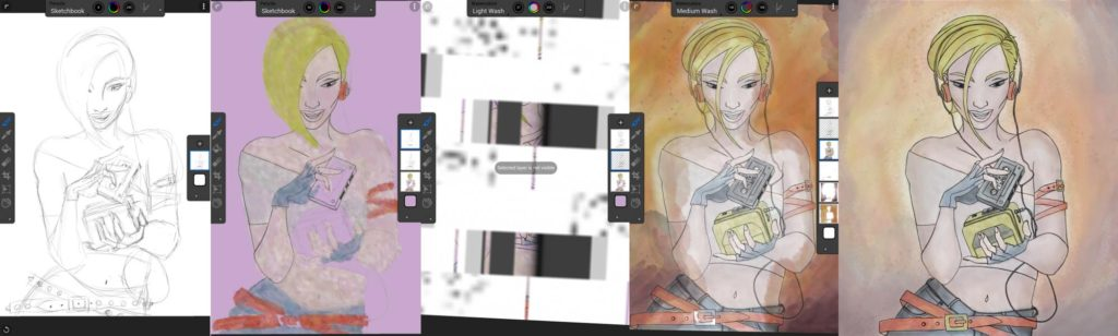 Here's my progress while I was drawing. Notice the visual glitch in the third from the left image. Even though it crashes and has visual malfunctions, Corel Painter Mobile is one of my fave. Click image to enlarge.