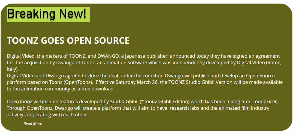 Toonz announcement that it's moving to open source!